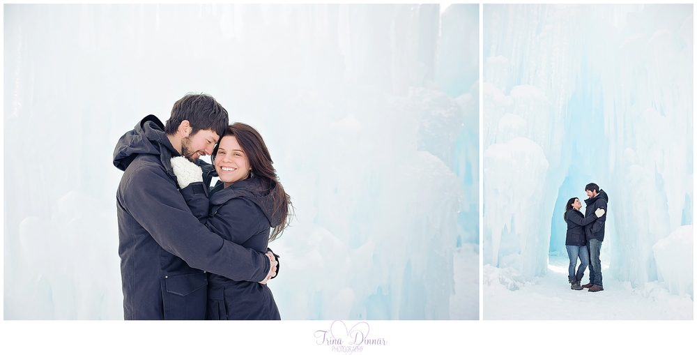 Maine engagement photographer captures couple's ice castles engagement session in Lincoln, NH