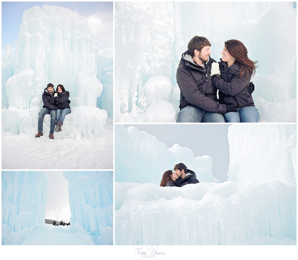 Lincoln engagement photographer at ice castles.