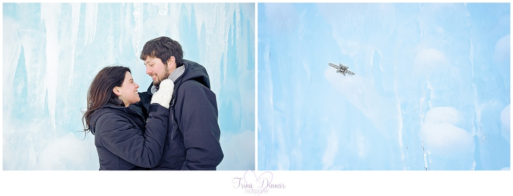 Engagement photography at the Ice Castles in Lincoln, NH.