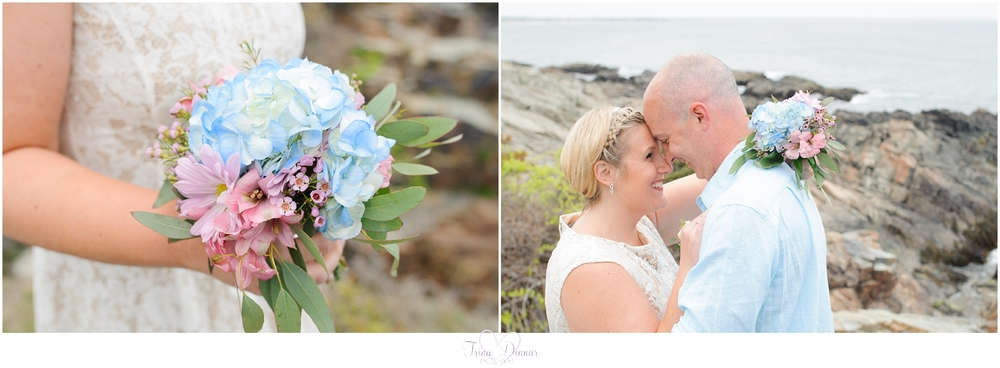 Ogunquit Maine Wedding Photographer photographs romantic beach elopement.