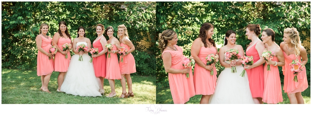 Bride and Bridesmaids at Farm Wedding at Worthley Pond in Peru, ME.