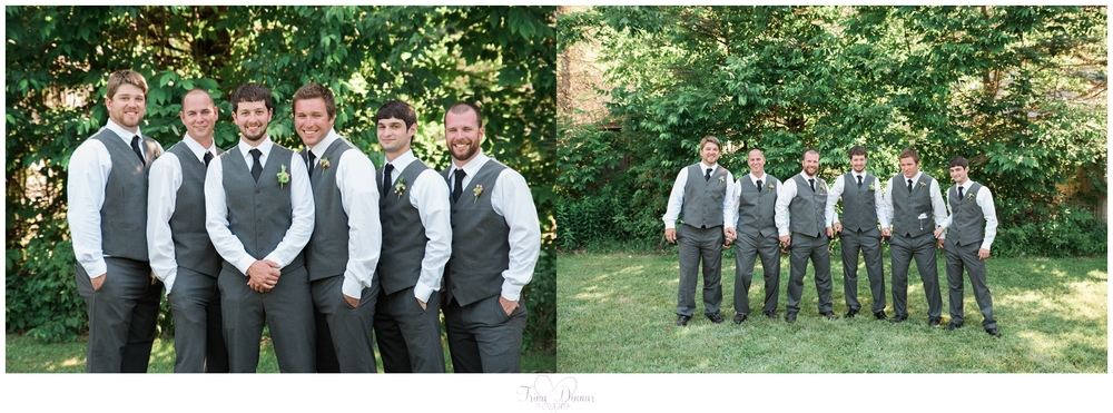Groom and Groomsmen at their Rustic Maine Farm Wedding.