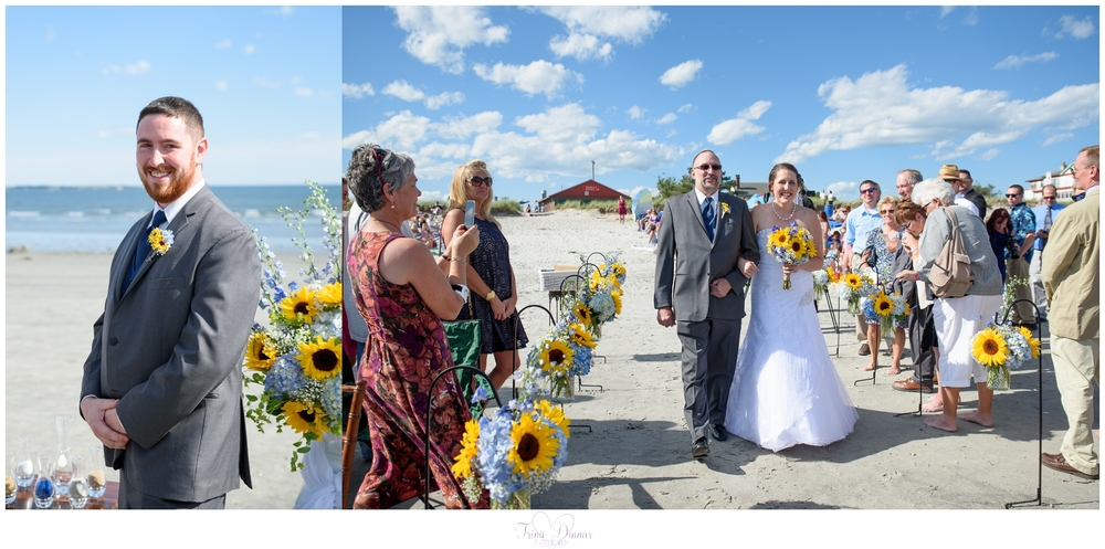 Maine wedding ceremony at Pine Point Beach in Scarborough.