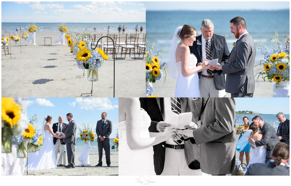Beach wedding ceremony in Scarborough, Maine.