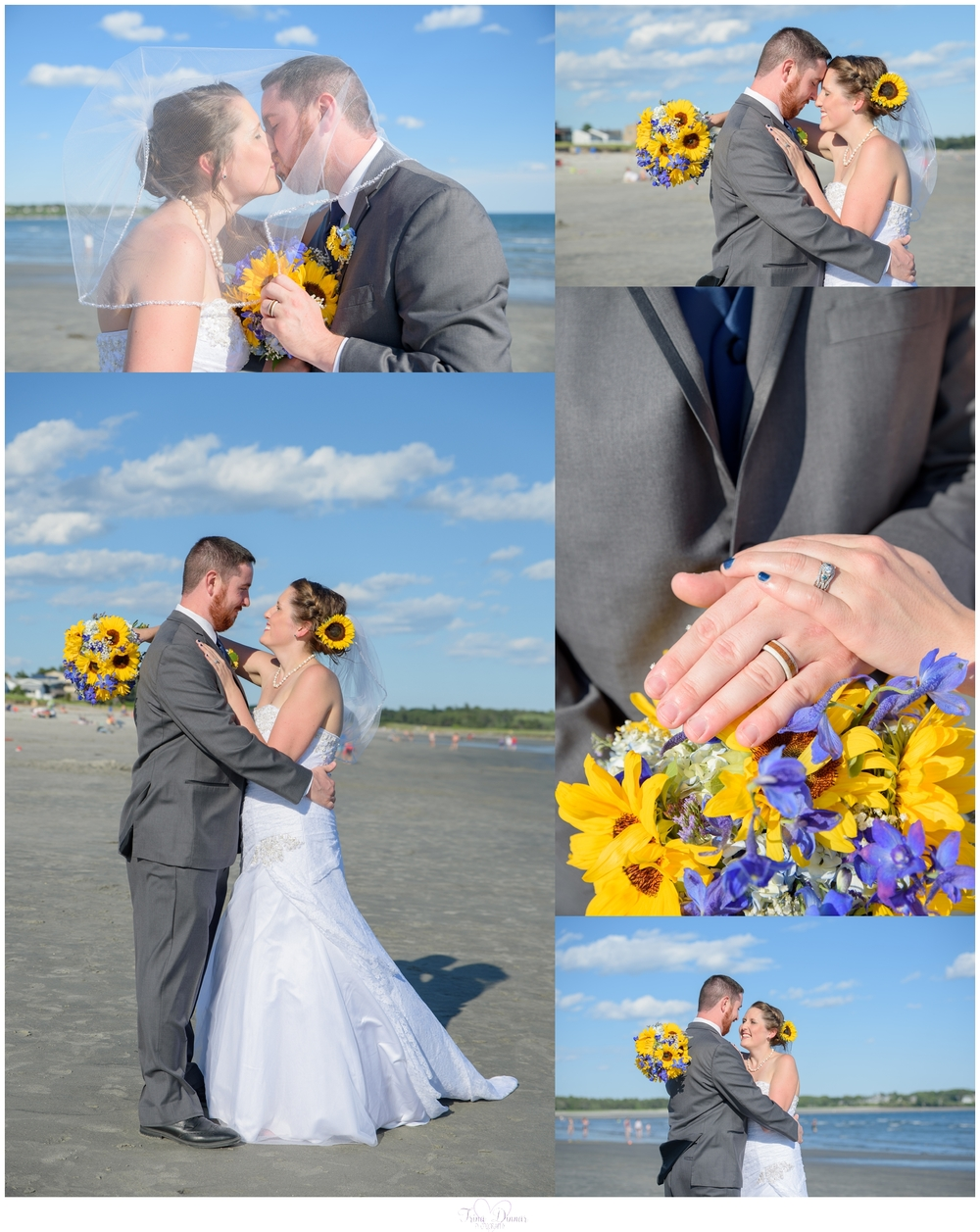 Bride and Groom Maine wedding photography at Pine Point Beach.