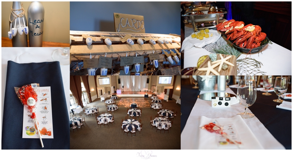 Nautical, beach themed Maine wedding reception with Lobster accents at the Landing at Pine Point.