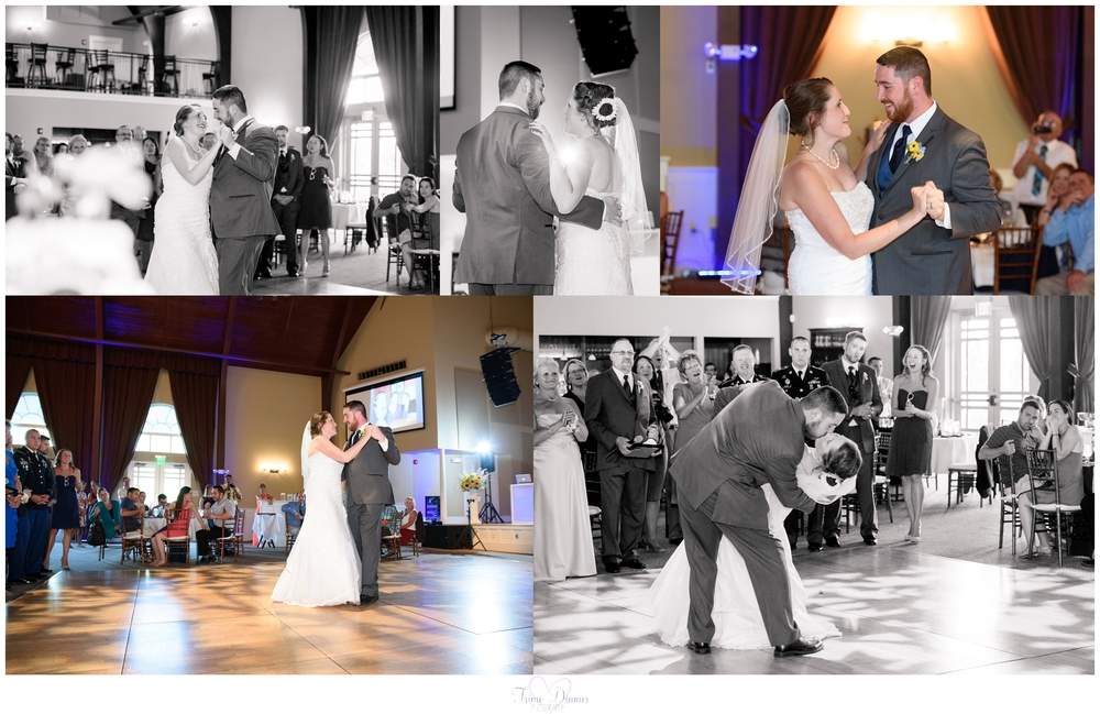 Bride and groom share their first dance at the Landing in Scarborough, Maine.