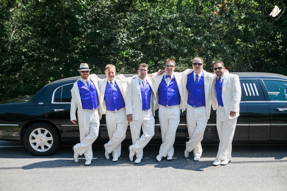 Groom and Groomsmen in front of their Limo before a Brunswick, Maine Wedding.