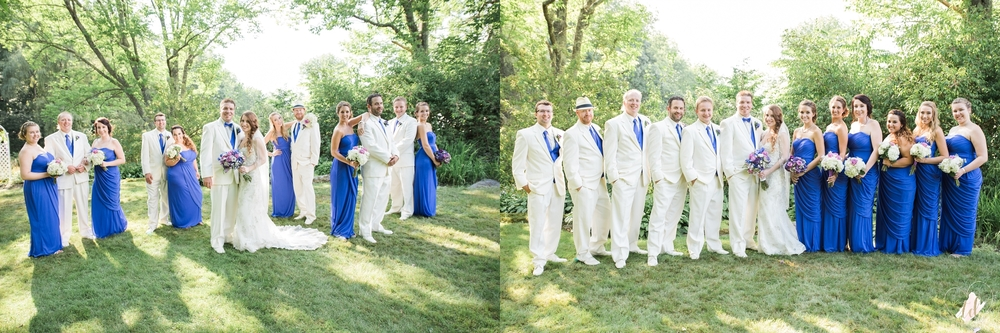 Wedding party wearing indigo dresses and white suits.