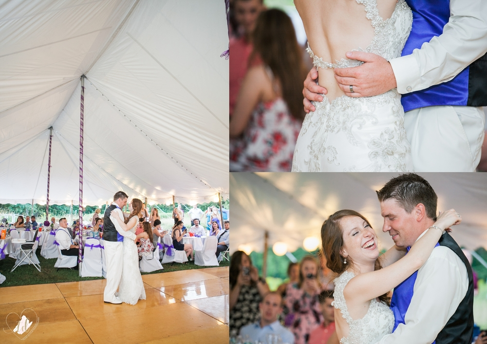 Bride and Groom's First Dance in Tented Reception.