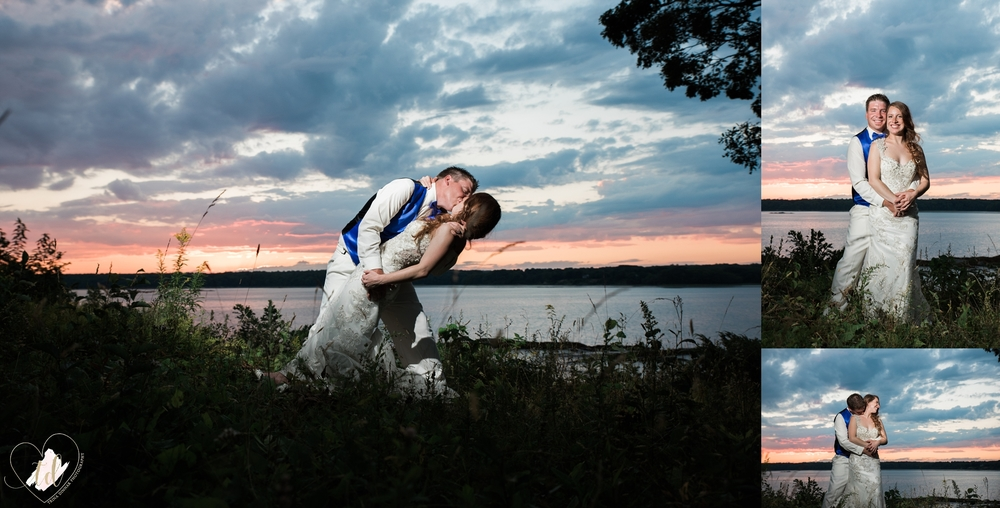 Trina Dinnar Photography captures Maine Wedding Sunset Photos of Bride and Groom.