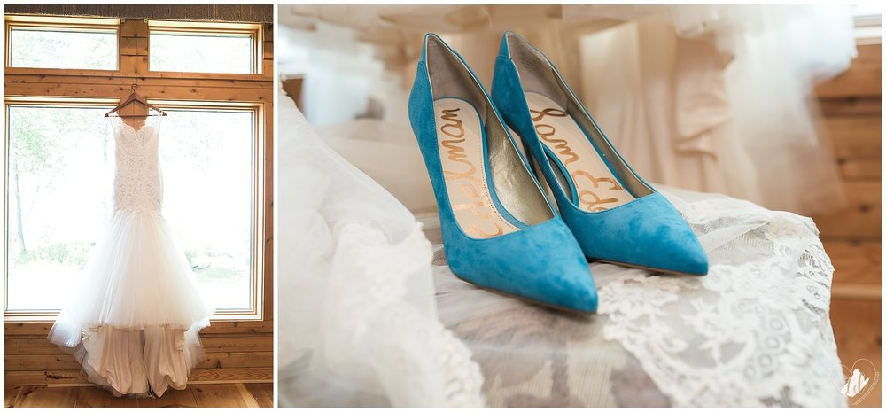Rustic Maine Wedding Dress and Shoes.