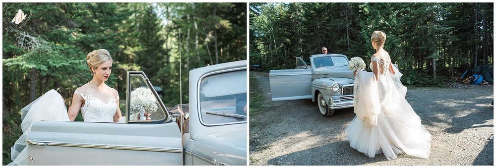 Bride traveling in vintage automobile for her Maine wedding transportation.