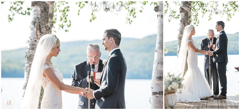 Oquossoc Maine wedding ceremony photographed by Trina Dinnar Photography.