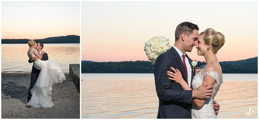 Maine Wedding Photographers sunset portraits in Rangeley