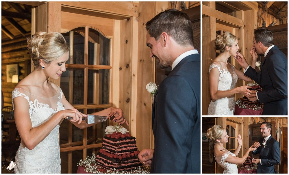 Cake cutting at Rangeley Lakes region wedding