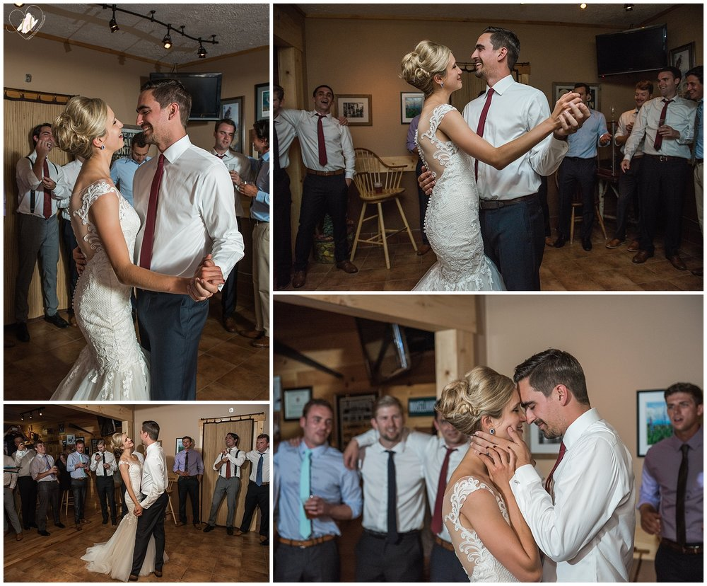 The bride and groom's first dance at Bald Mountain Camps Resort.