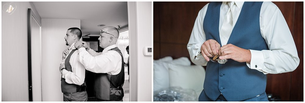 Groom getting ready for wedding at Marriott Sable Oaks.
