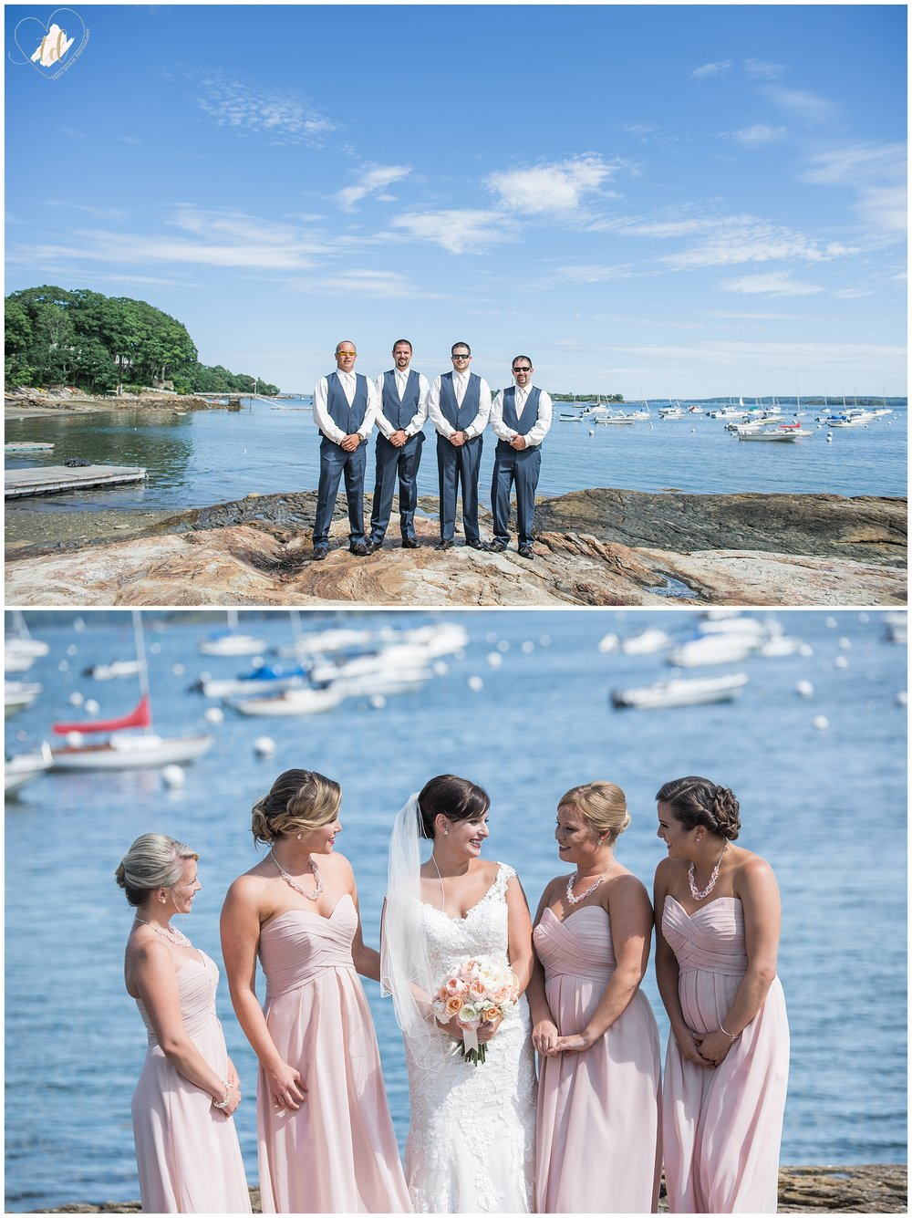 Wedding Party Portraits at Falmouth Town Landing
