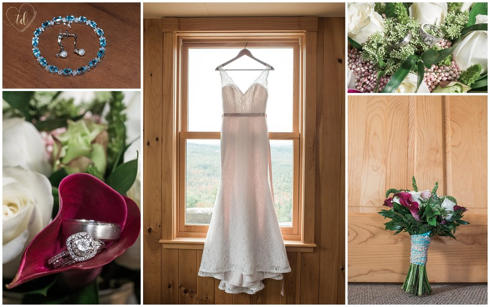 A rustic Maine barn wedding with dress and details photographed by Trina Dinnar Photography.