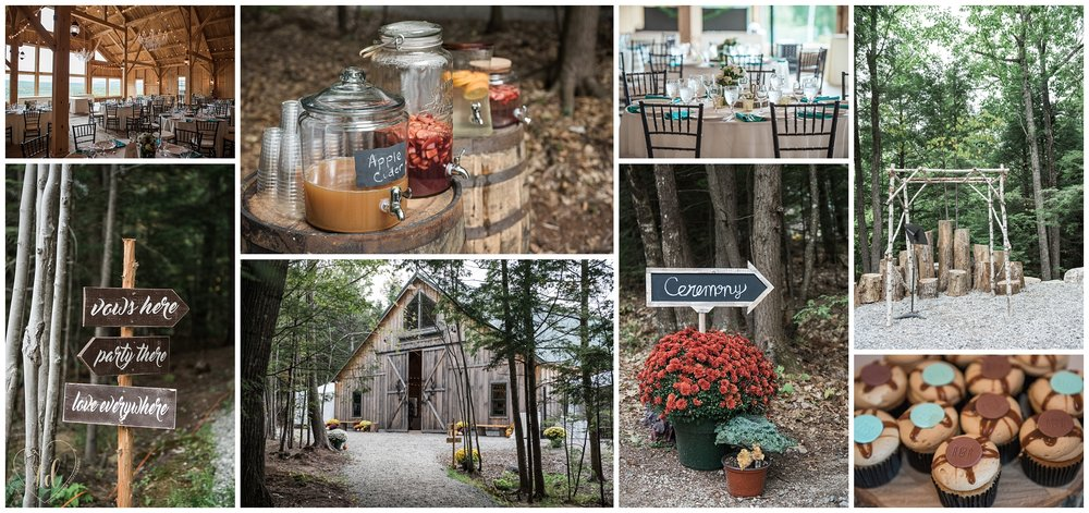 Rustic chic details at an elegant Maine barn mountain wedding venue: the Granite Ridge Estate.