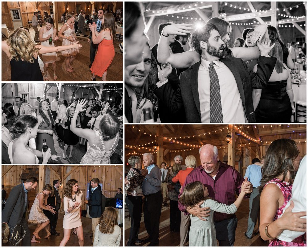Guests dance the night away at a barn wedding in Norway, Maine.