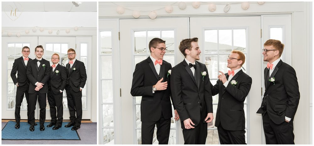 Wedding portraits of groom and groomsmen in Southern Maine.