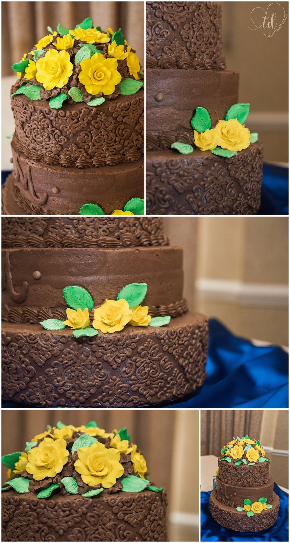 Chocolate Maine Wedding Cake with Yellow Flowers.