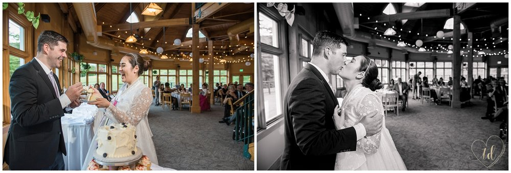 Bride and Groom cut thier wedding cake at Jordan Terrace's Sliders Restaurant.