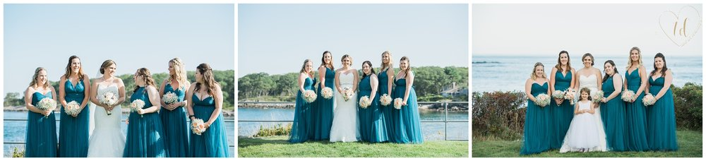 Vacationland wedding portraits of bride and bridesmaids.
