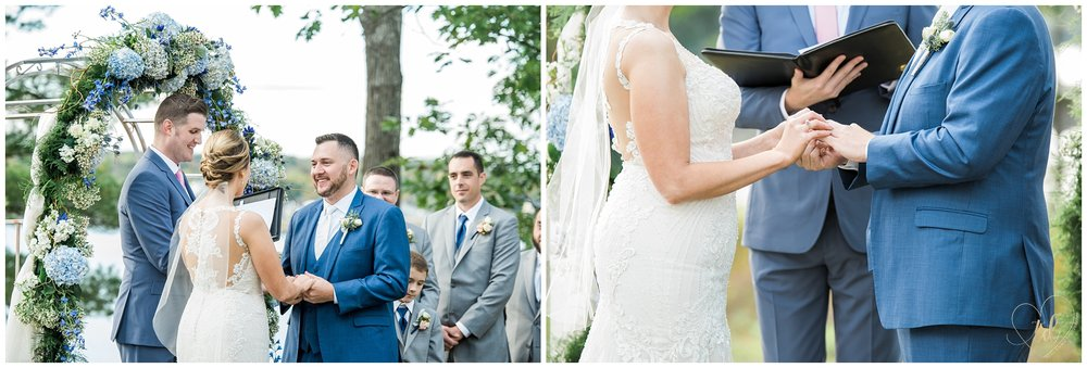 Bride and Groom Exchange Rings During their Edgecomb Maine Wedding