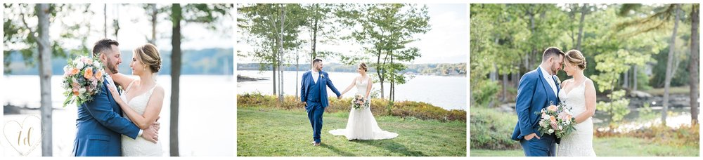Maine wedding photographers capture bride and groom's couples portraits.
