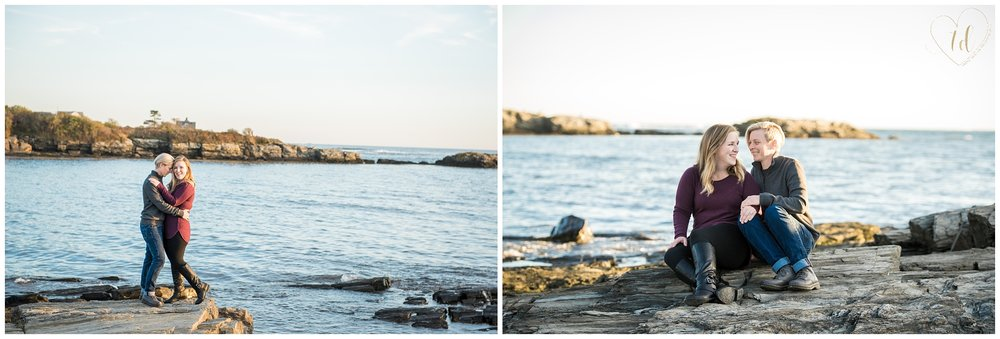 Gay Engagement Photos on the coast of Cape Elizabeth, Maine.