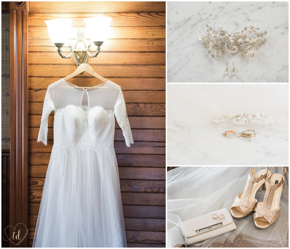 Photos of Wedding Dress, Rings and Shoes for a Rockland Maine Elopement