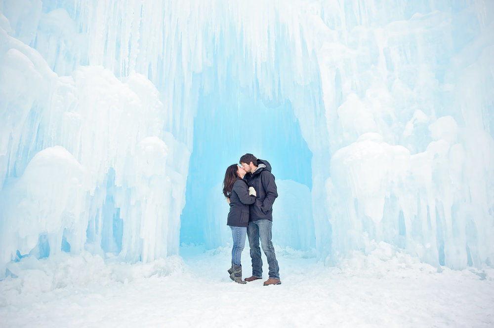Ice Castles Lincoln NH Engagement Photography