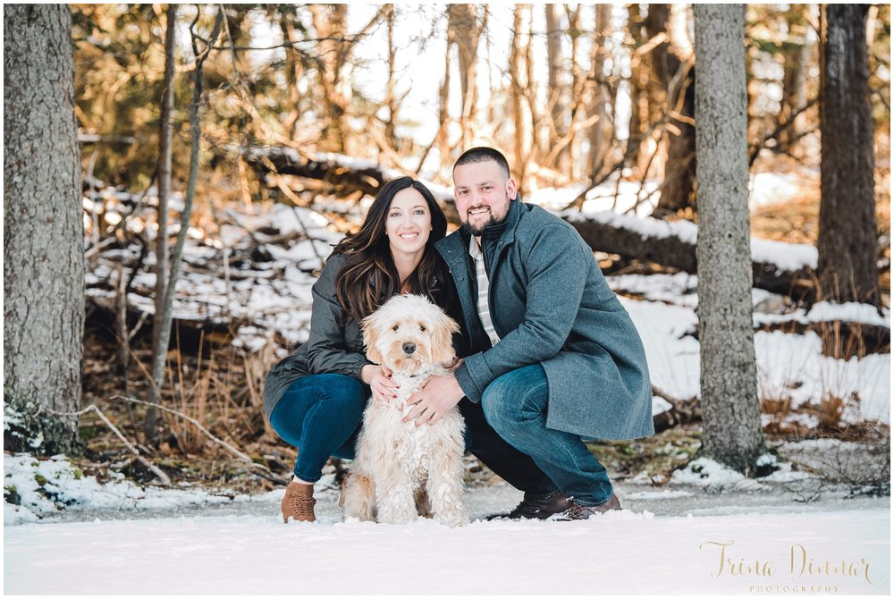 Maine Portrait Photographer captures couple with their dog.
