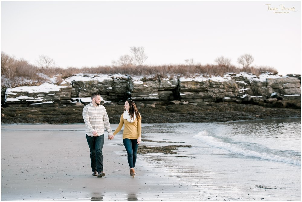 Winter Beach Couples Photos in Maine