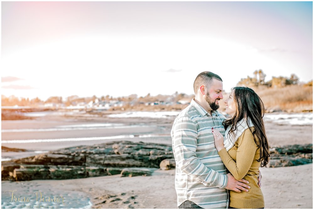 Winter Beach Maine Engagement