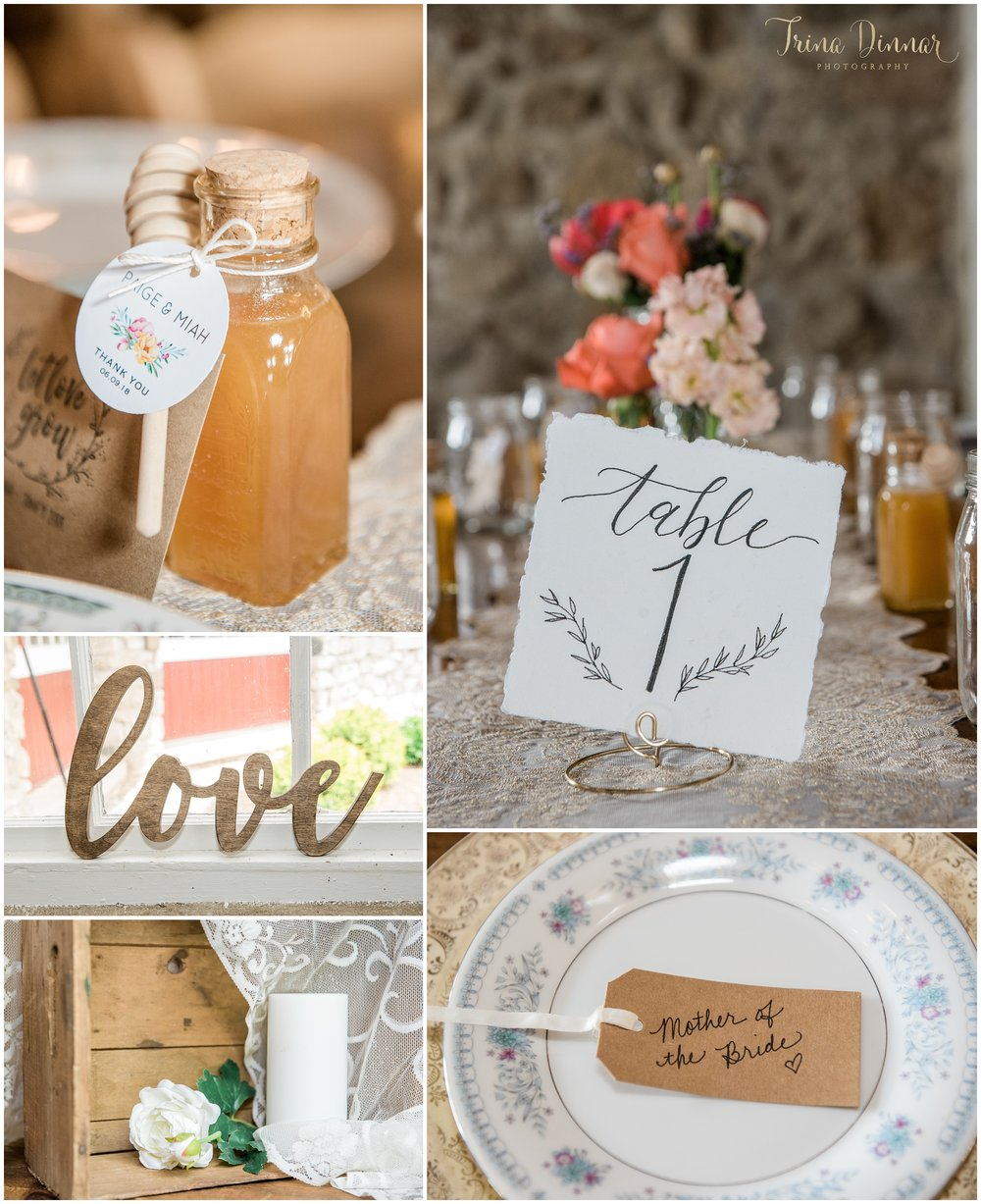 Rustic Maine wedding reception detail photography