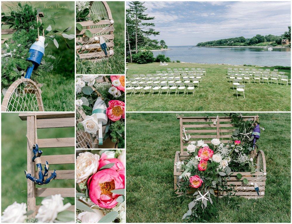 Nautical York Harbor Maine Wedding Ceremony at the Dockside Restaurant.
