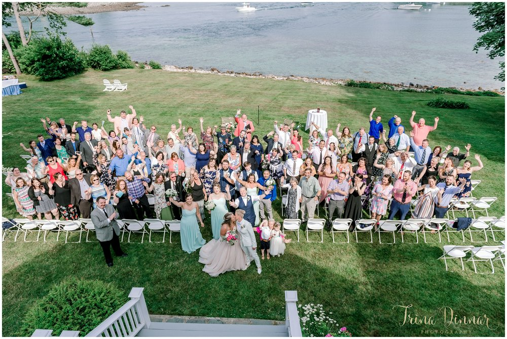 Large Group Wedding Photo at the Dockside in York, ME.