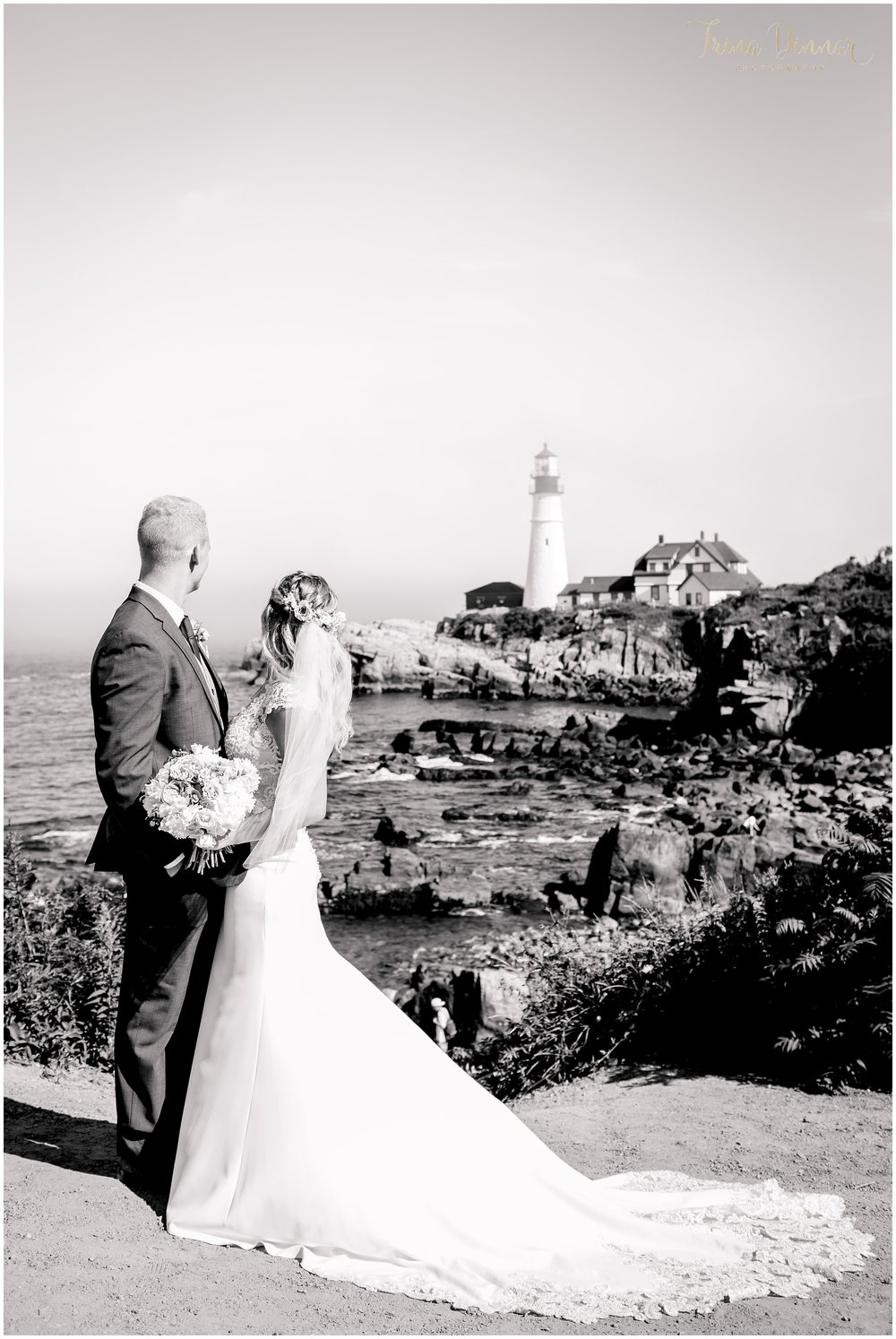 Black and White Wedding Portrait at Portland Headlight