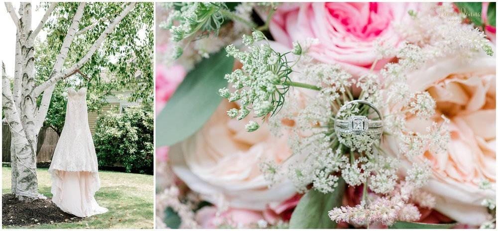 Bridal Dress, Bouquet and Rings in Maine at a Falmouth Country Club wedding.
