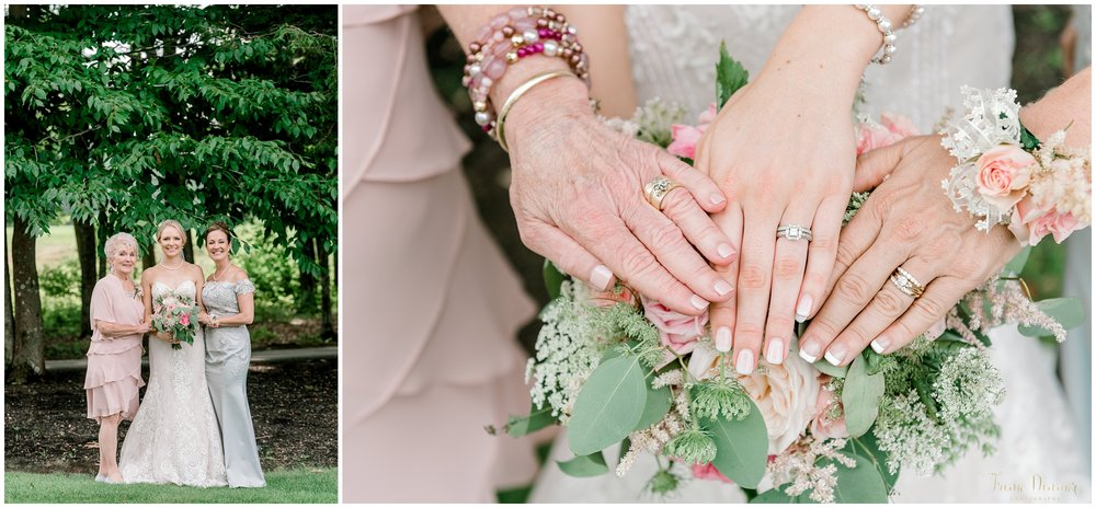 Three Generations Portrait at a Maine wedding: Bride, Mother and Grandmother and their wedding rings.