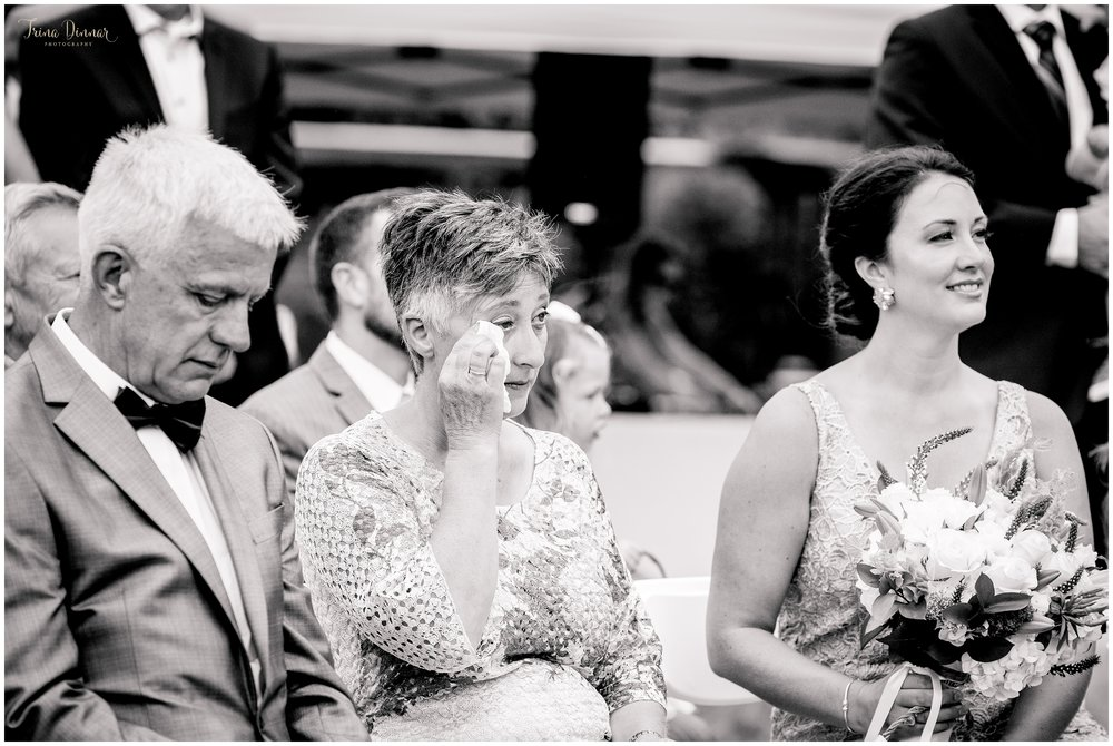 Mother of the Bride tears up during wedding ceremony