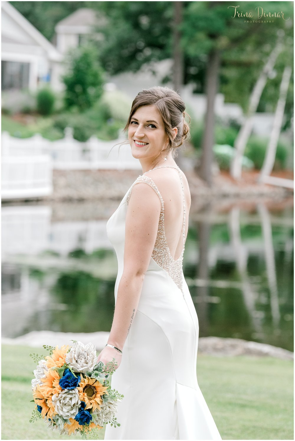 Wedding Portrait of bride Erica Metcalf at the Castleton in Windham, NH