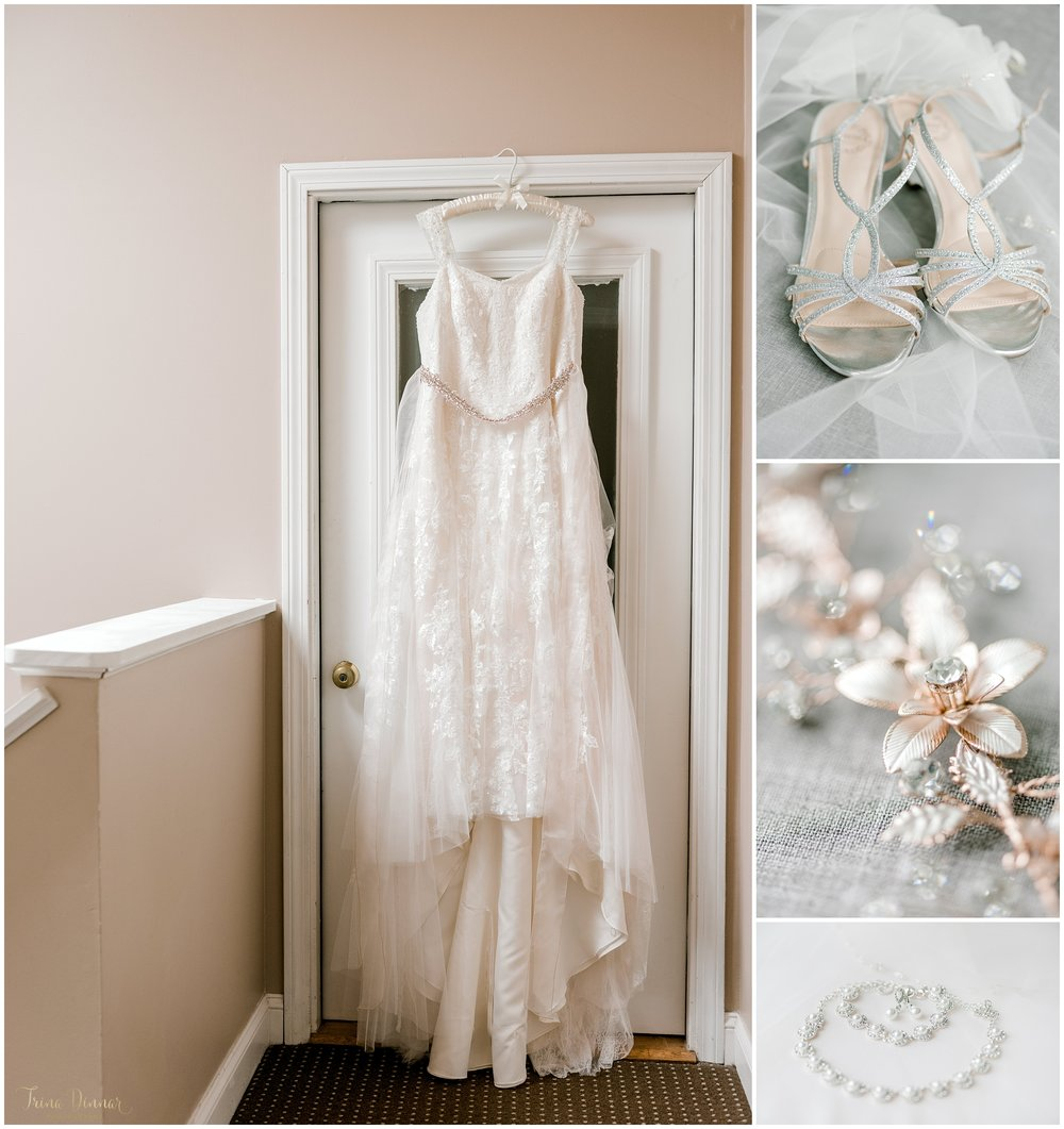 Wells Maine Coastal Beach wedding detail photography of bridal gown, shoes and jewelry.
