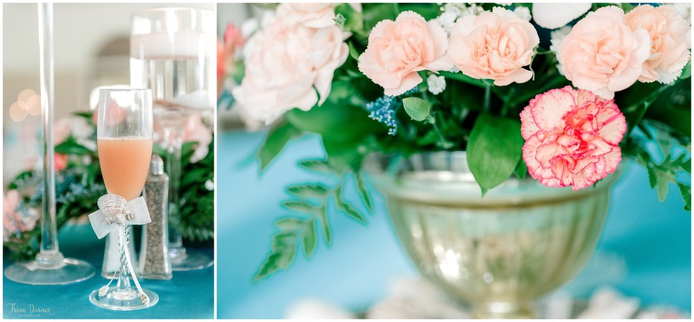 Teal and Peach Wedding Decor