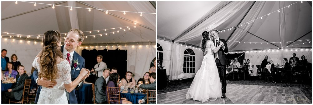 Jennifer and Michael's Tented Maine wedding reception