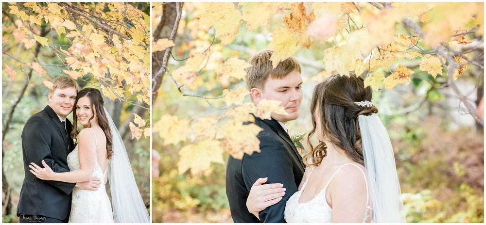 Bride and Groom Maine fall wedding